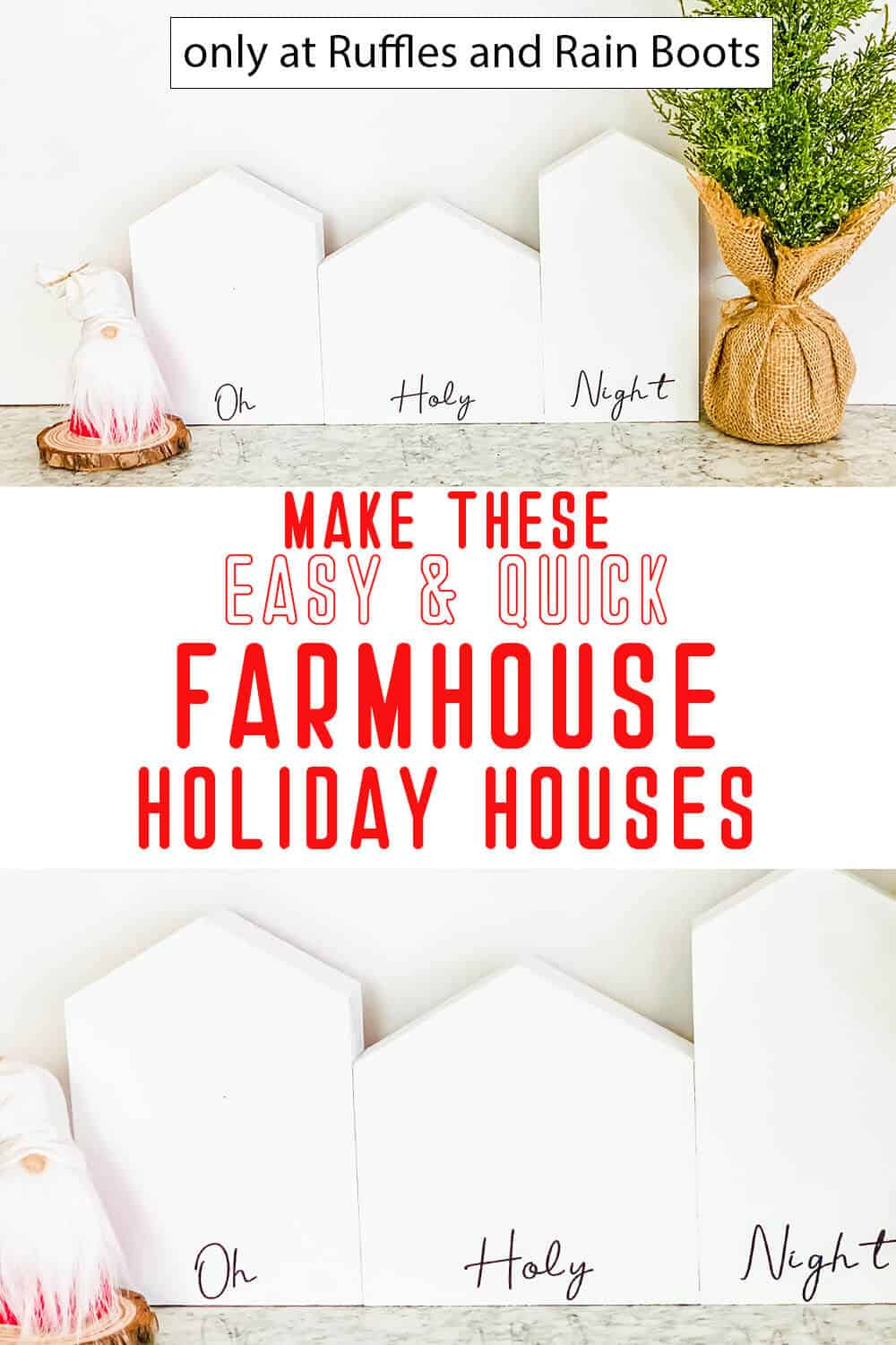 photo collage of christmas cricut craft wood houses with text which reads make these easy and quick farmhouse holiday houses