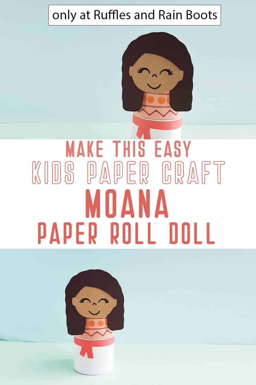 photo collage of moana paper doll disney paper craft for kids with text which reads make this easy kids paper craft moana paper roll doll