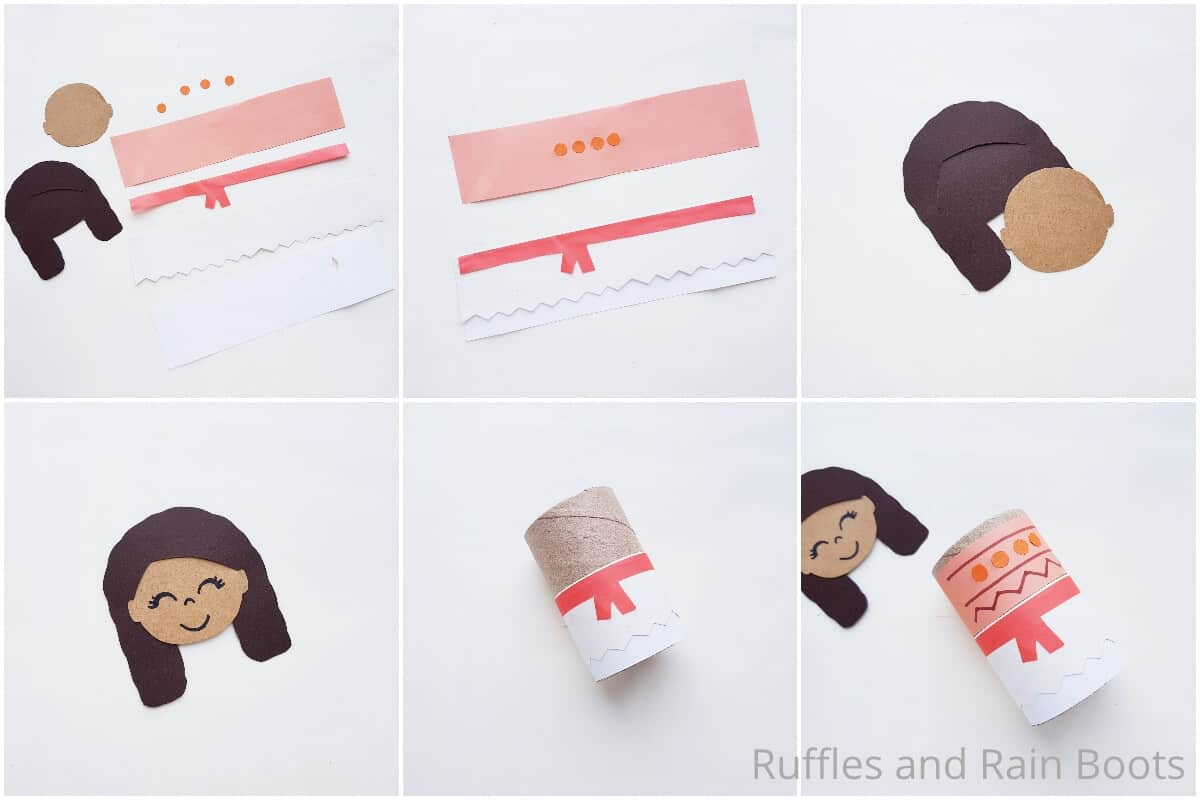photo collage tutorial of how to make a moana paper doll