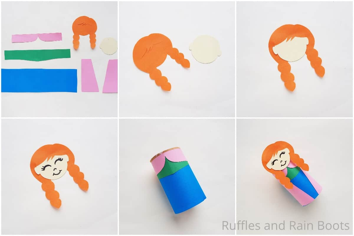 photo collage tutorial of how to make an anna paper doll