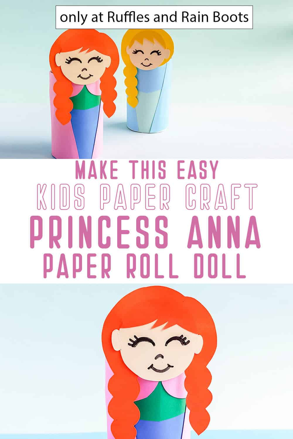 photo collage of frozen princess anna paper roll doll with text which reads make this easy kids paper craft princess anna paper roll doll
