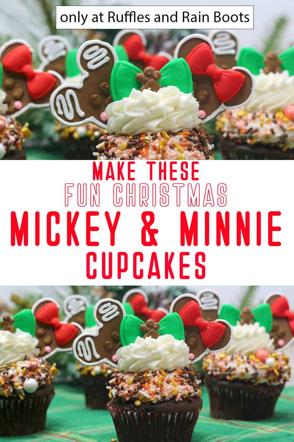 photo collage of mickey gingerbread cupcakes for christmas with text which reads make these fun christmas mickey and minnie cupcakes