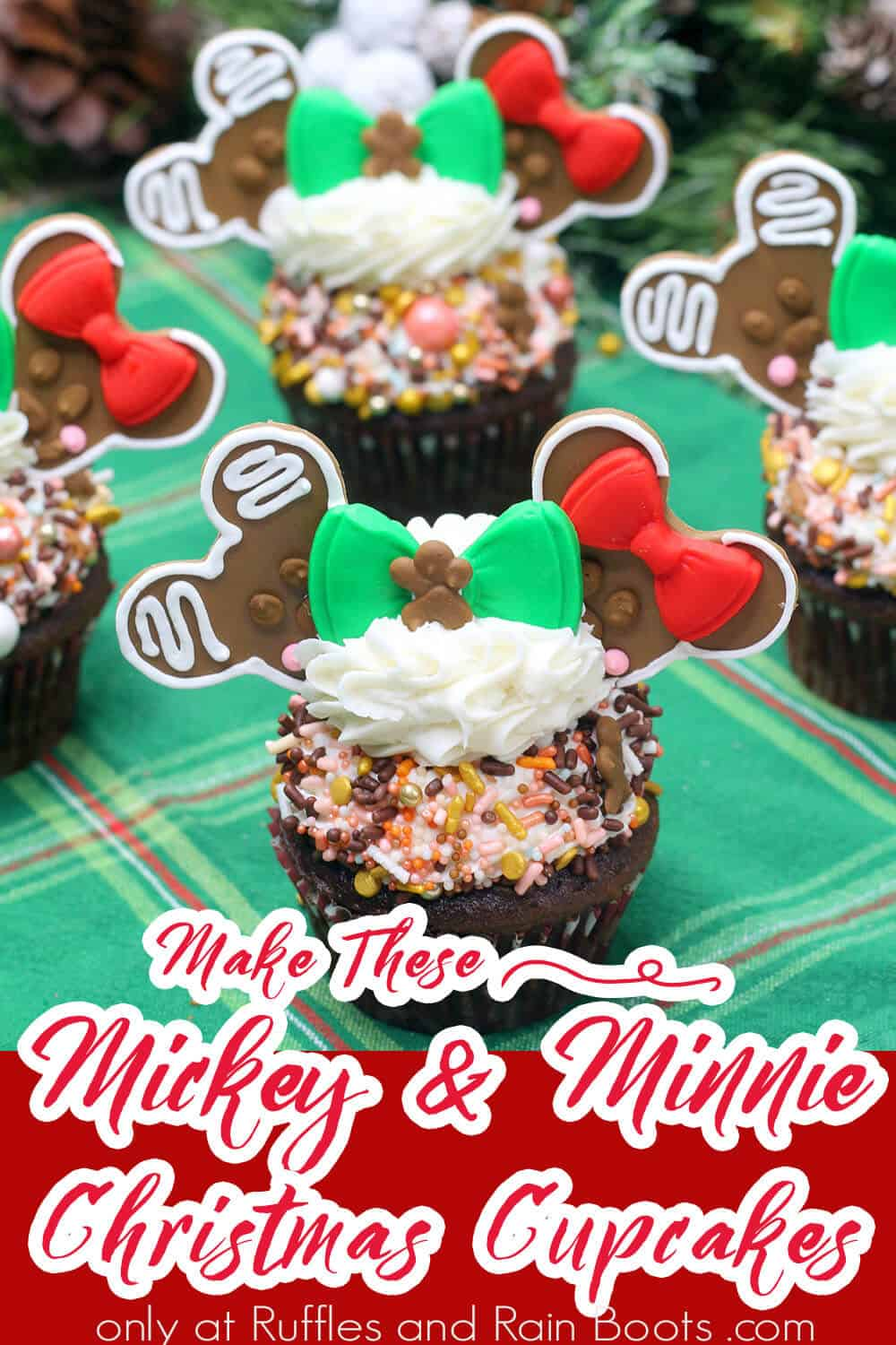 mickey and minnie gingerbread christmas cupcakes with text which reads make these mickey and minnie christmas cupcakes