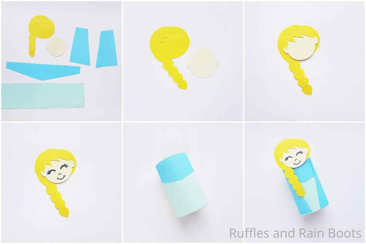 photo collage tutorial of how to make an elsa paper doll