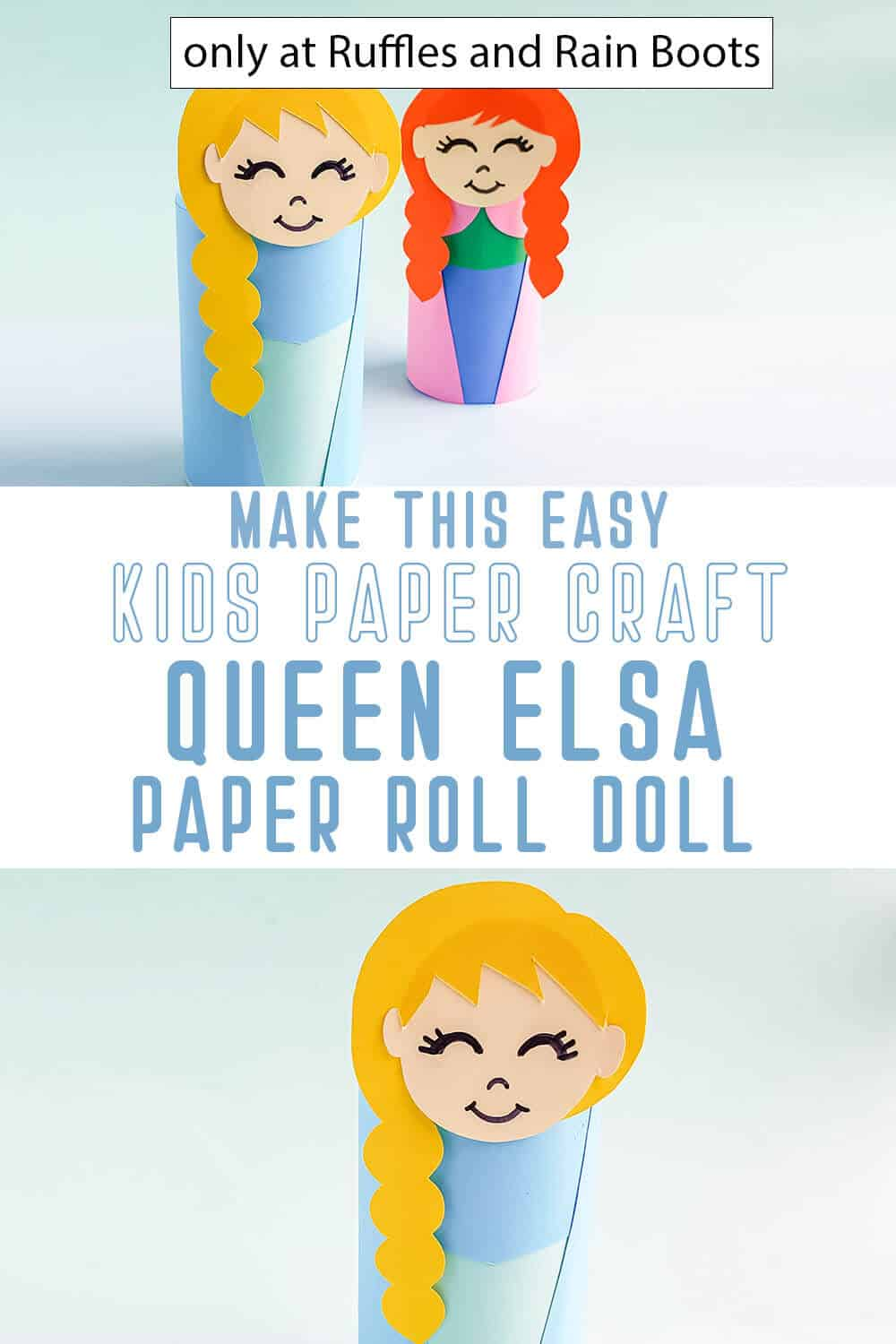 photo collage of frozen princess elsa paper roll doll kids craft with text which reads make this easy kids paper craft queen elsa paper roll doll