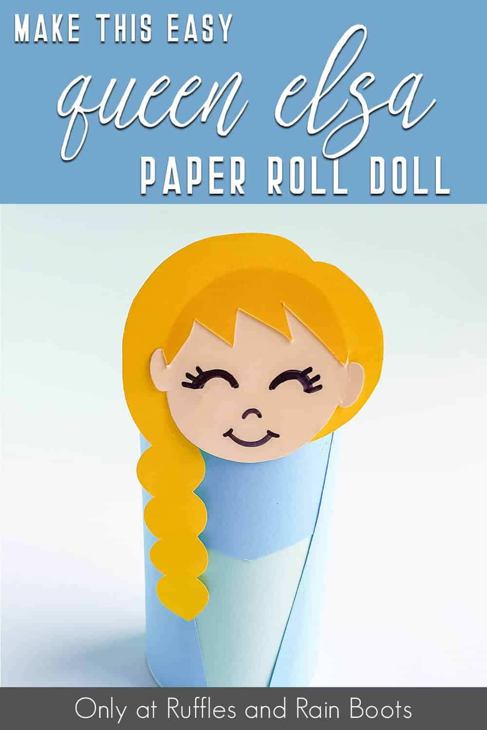 frozen elsa paper roll doll kids craft with text which reads make this easy queen elsa paper roll doll