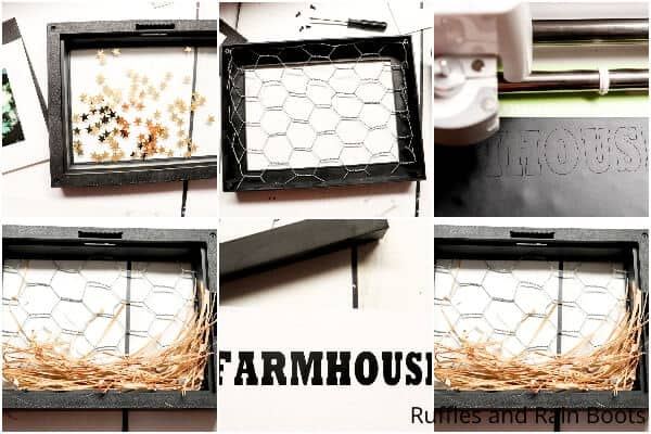 photo collage tutorial of how to make a farmhouse shadow box