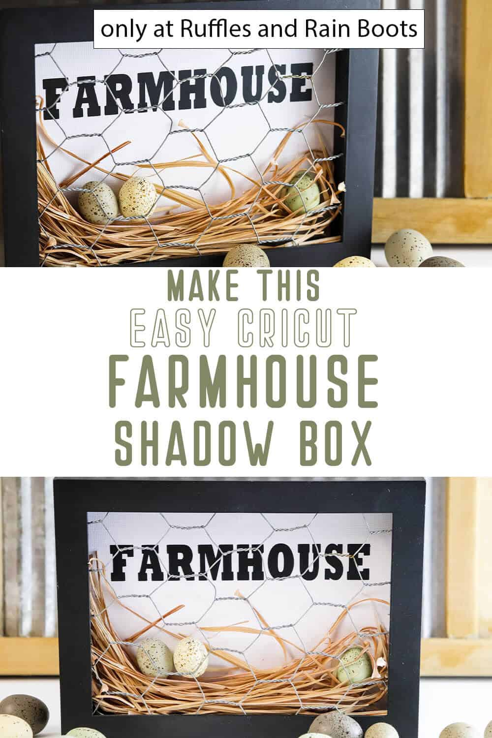 photo collage tutorial of farmhouse cricut shadow box with text which reads make this easy cricut farmhouse shadow box
