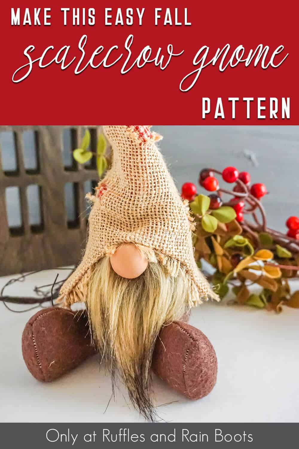 scarecrow gnome pattern set with text which reads make this easy fall scarecrow gnome pattern