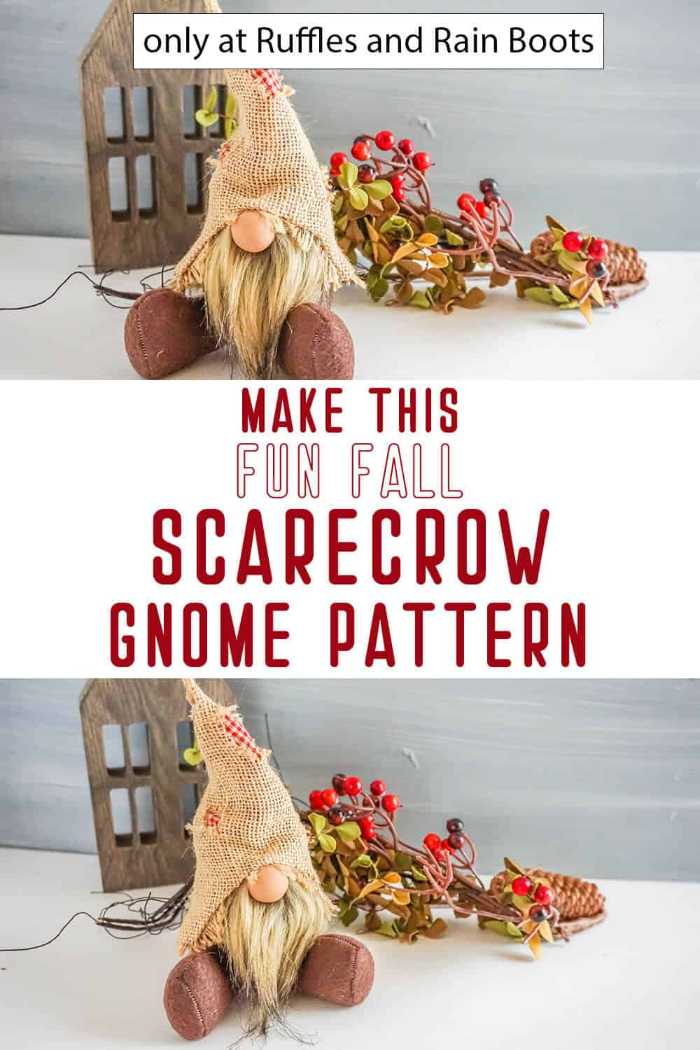 photo collage of scarecrow gnome pattern for autumn with text which reads make this fun fall scarecrow gnome pattern