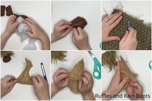 photo collage tutorial of how to make a fall gnome pattern
