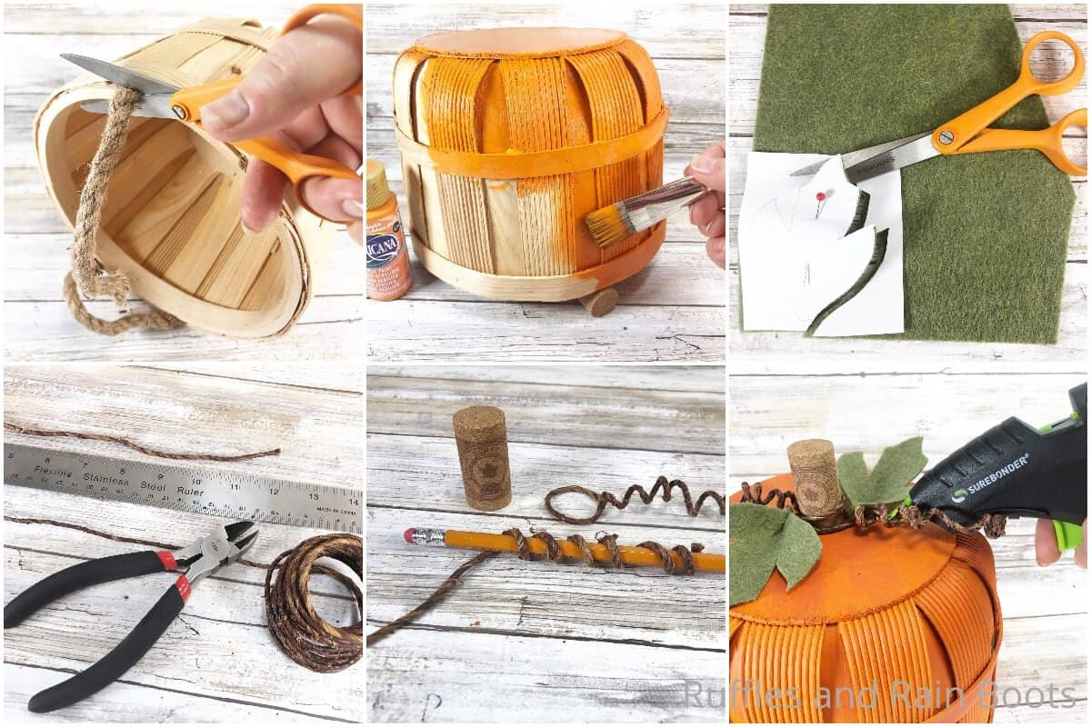 photo collage tutorial of how to make a basket pumpkin