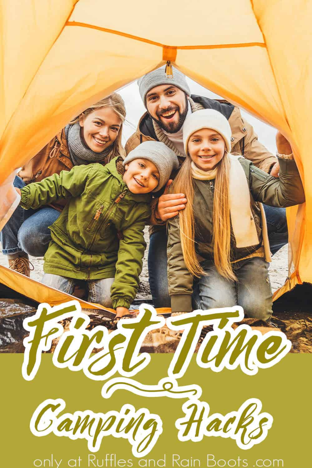 tips for your first time camping with text which reads first time camping hacks