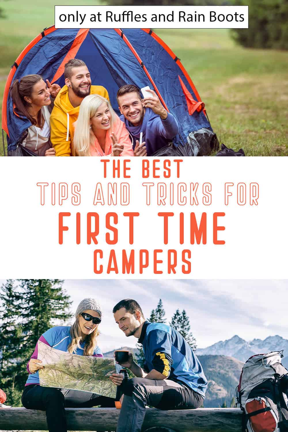 photo collage of first time camping hacks with text which reads the best tips and tricks for first time campers