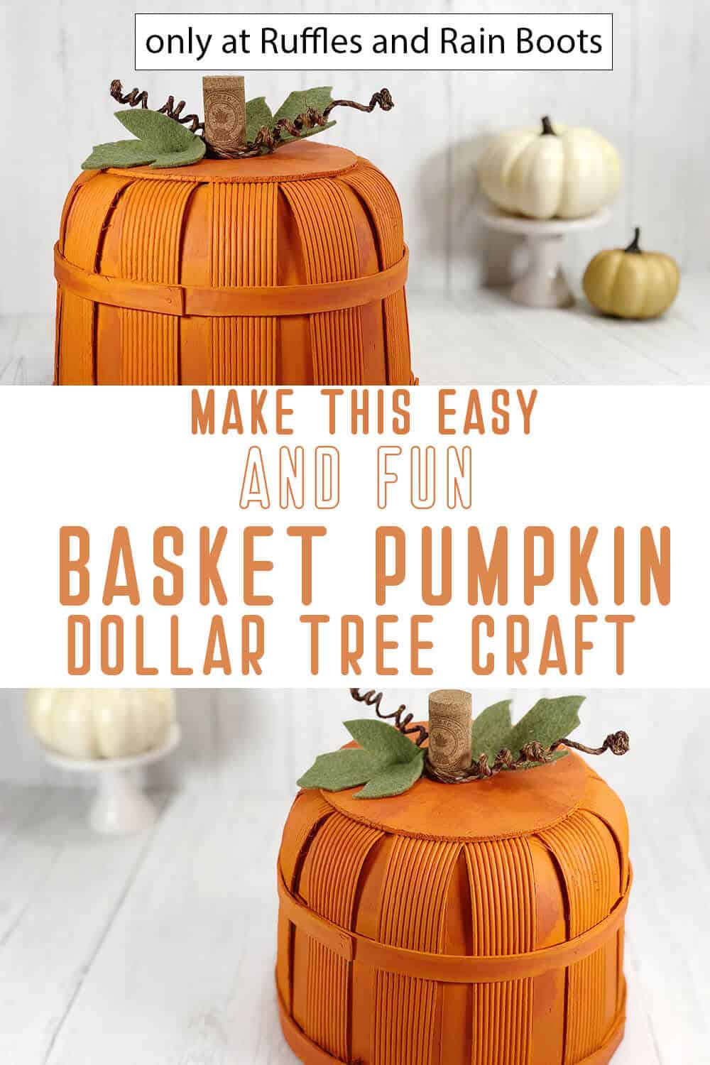 photo collage of dollar tree basket pumpkin diy with text which reads make this easy and fun basket pumpkin dollar tree craft