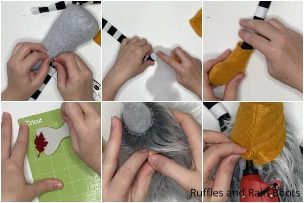 photo collage tutorial of how to make a fall shelf gnome pattern