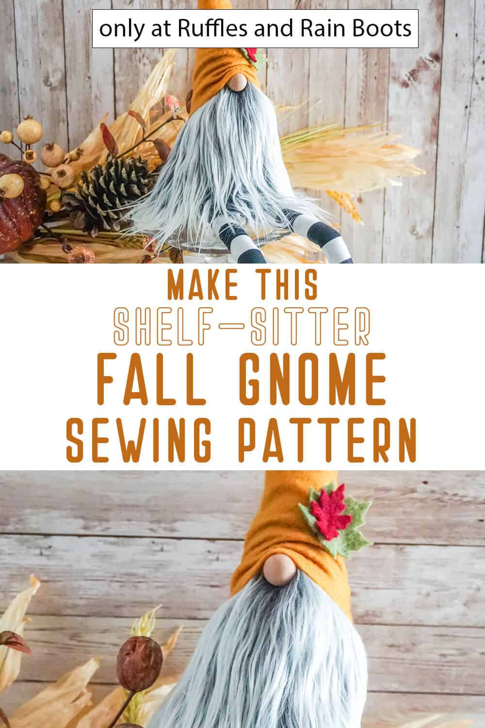 photo collage of fall shelf sitter gnome pattern with text which reads make this shelf-sitter fall gnome sewing pattern