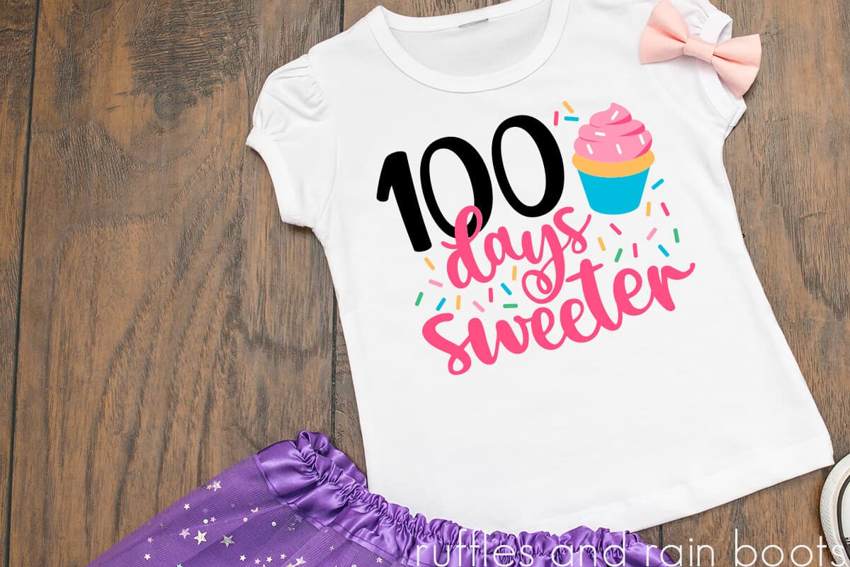 colorful bright 100 days of school idea for girl 100 days sweeter cupcake cut file