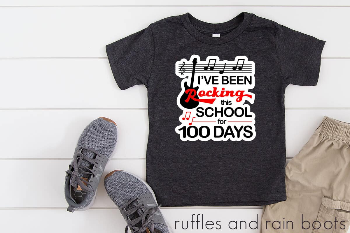 svg boy 100 days of school rock n roll guitar svg clipart for student