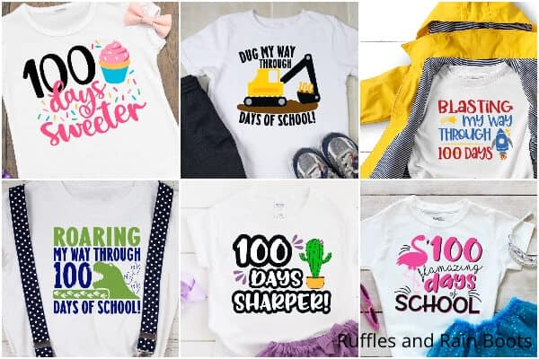 photo collage of best 100 days of school svg bundle for cricut or silhouette