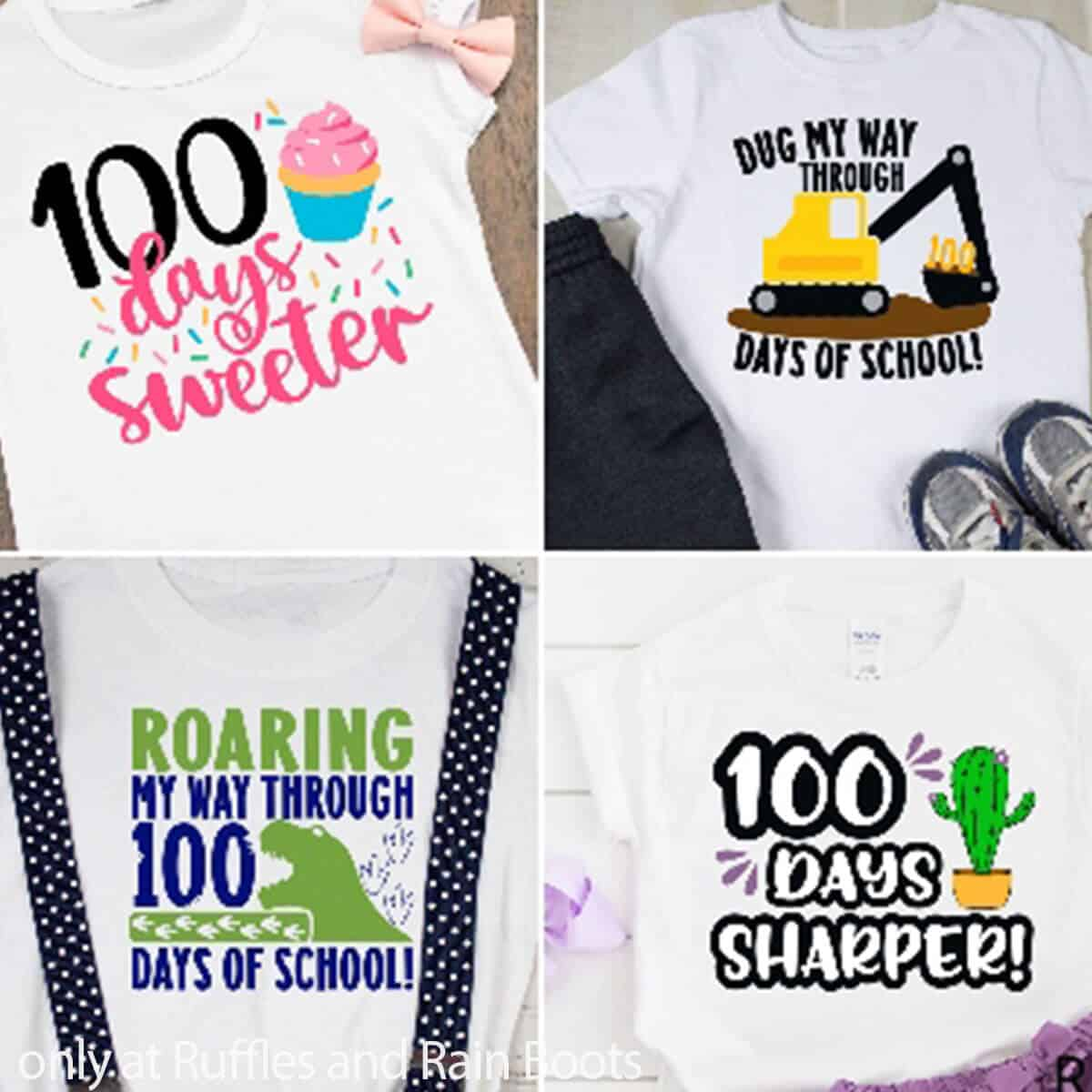 photo collage of 100 days of school svgs for kids shirts