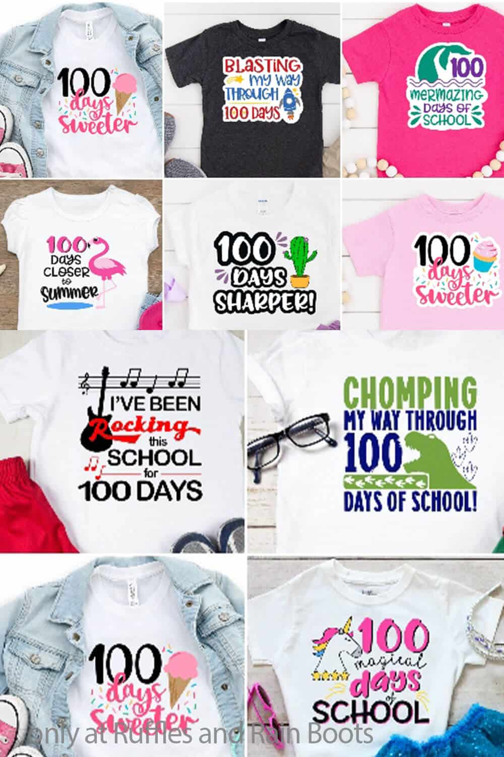 photo collage of 100 days of school designs for kids shirts