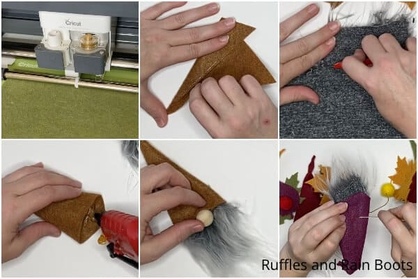 photo collage tutorial of how to make a fall gnome garland