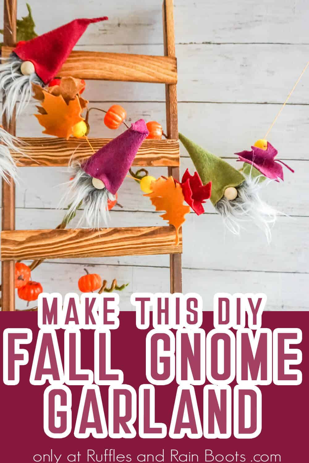 fall gnome banner gnome pattern with text which reads make this diy fall gnome garland