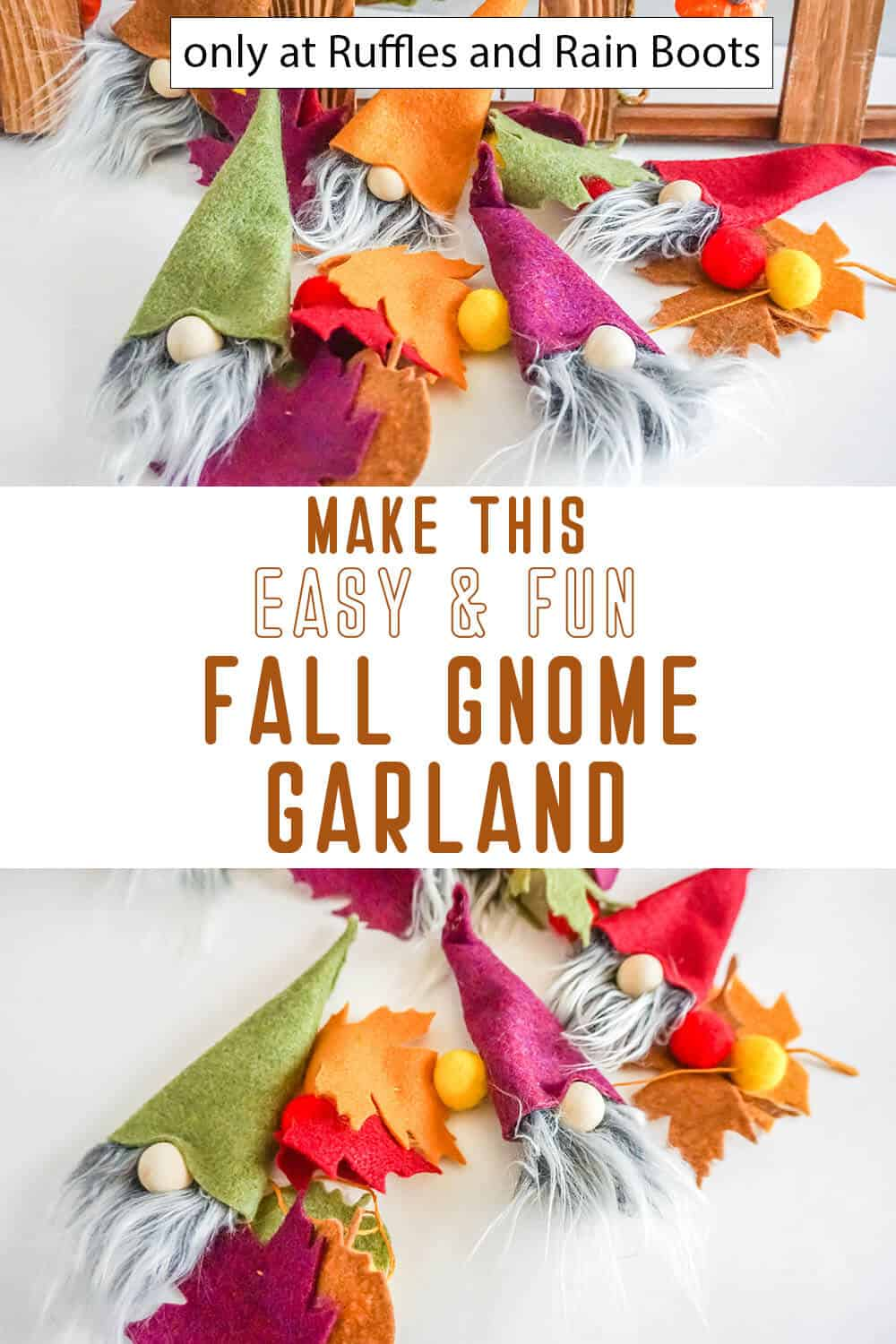 photo collage of fall garland with gnomes with text which reads make this easy and fun fall gnome garland