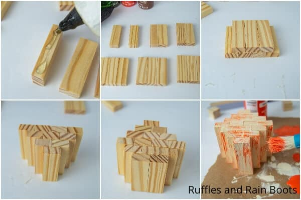photo collage tutorial of how to make a dollar tree wood block pumpkin