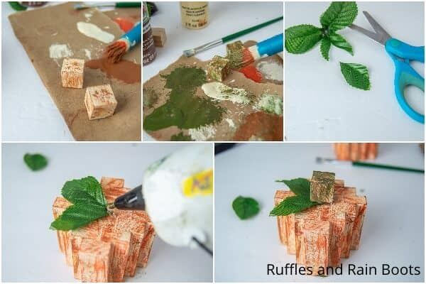 photo collage tutorial of how to make a dollar tree pumpkin with wood blocks