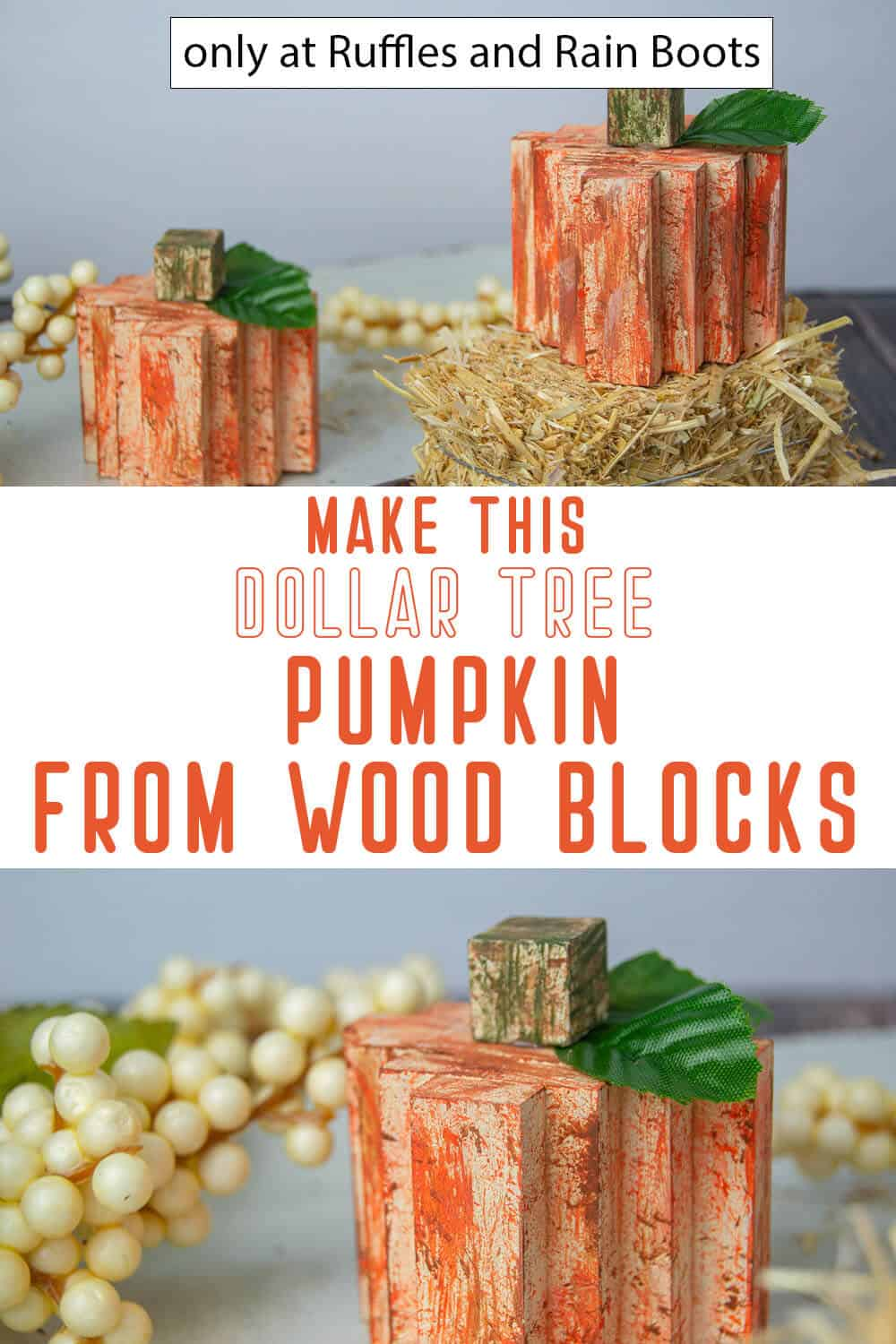 photo collage of dollar tree wood block pumpkin with text which reads make this dollar tree pumpkin from wood blocks