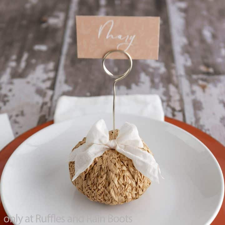 braided raffia pumpkin placeholders for fall tablescape