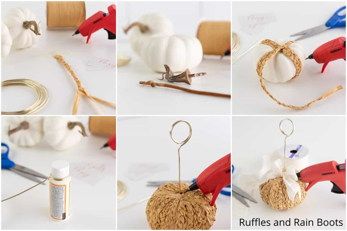 photo collage tutorial of how to make a braided raffia pumpkin craft for fall