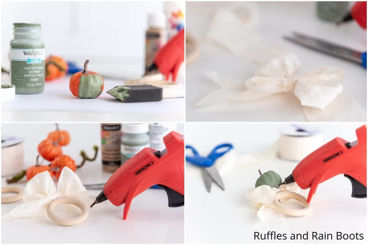 photo collage tutorial of how to make pumpkin napkin rings for fall