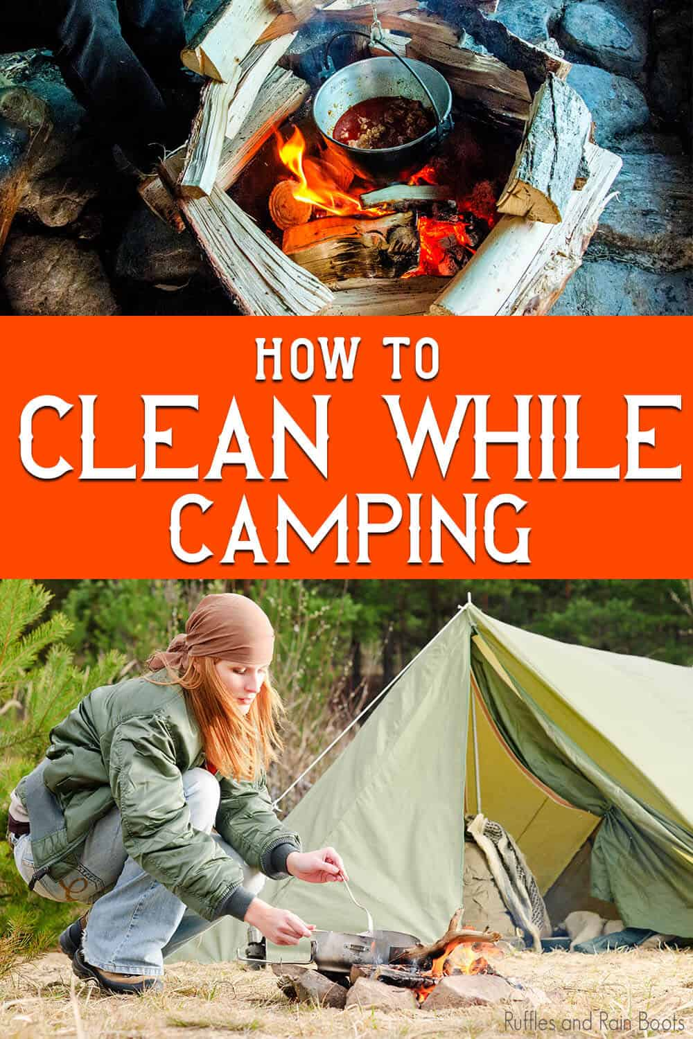 photo collage of tips for washing dishes while camping with text which reads how to clean while camping