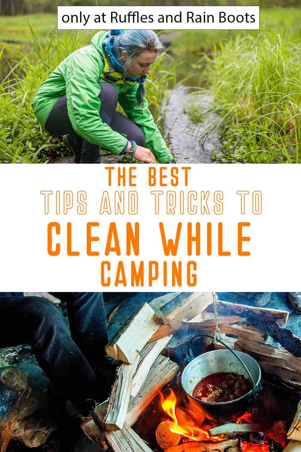 photo collage of camping cleaning tips with text which reads the best tips and tricks to clean while camping