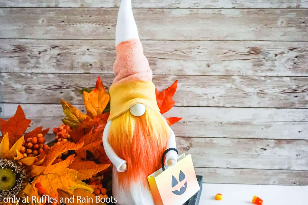 sewing pattern for a halloween gnome with orange beard
