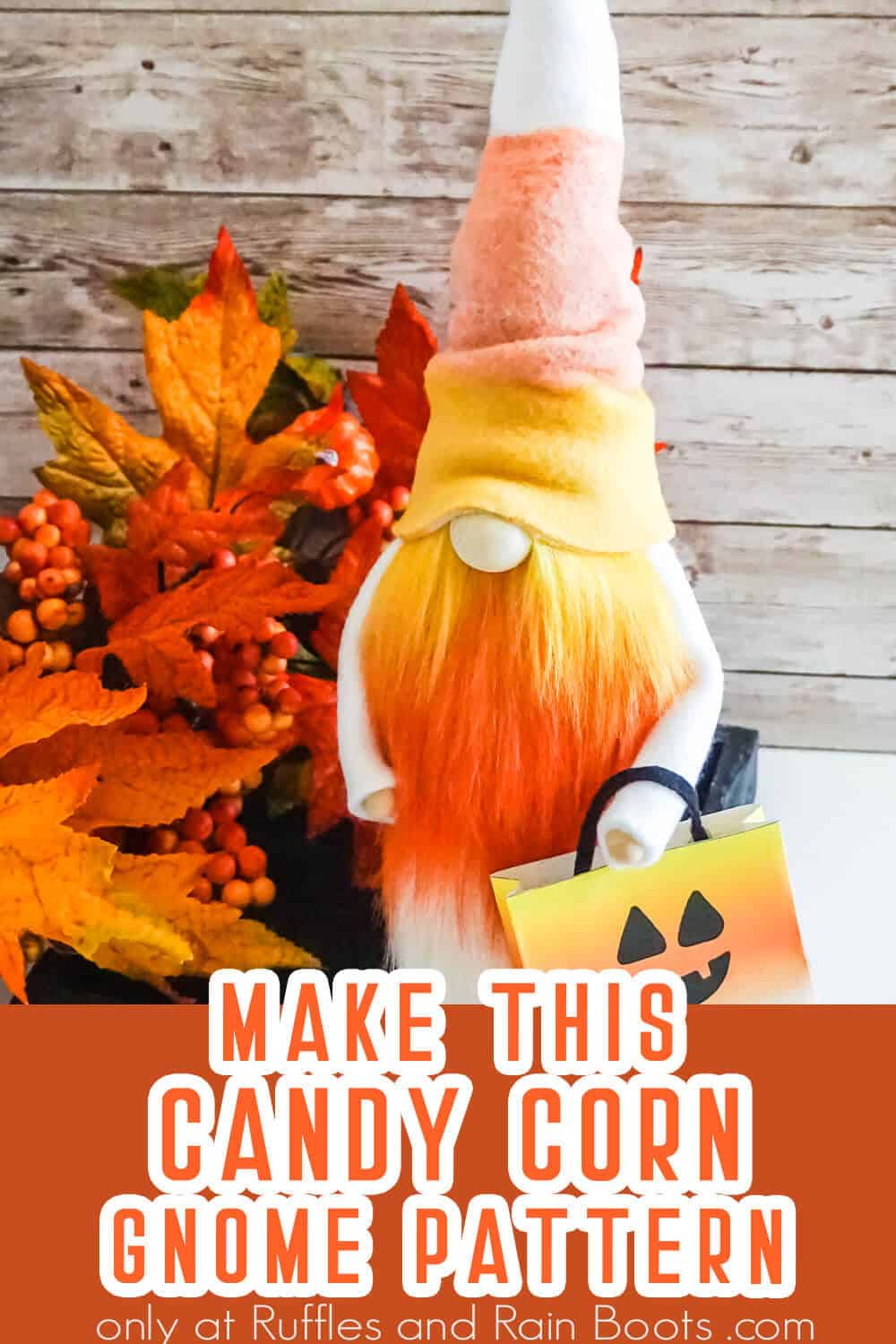 gnome pattern with candy corn beard with text which reads make this candy corn gnome pattern