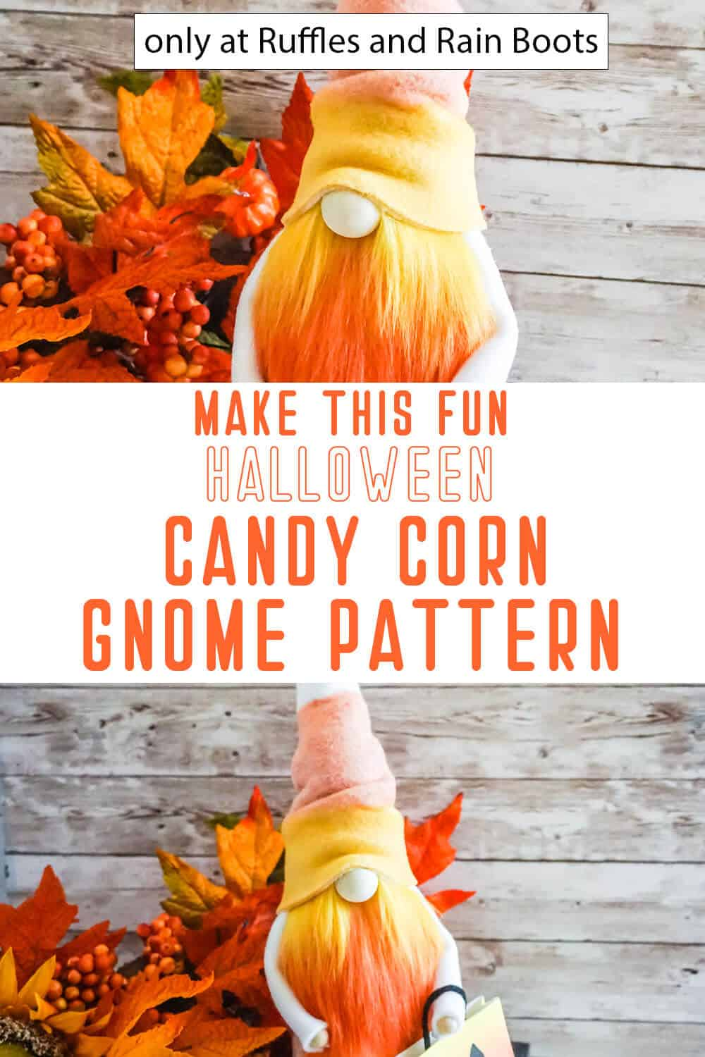 photo collage of candy corn gnome pattern for halloween gnome with text which reads make this fun halloween candy corn gnome pattern