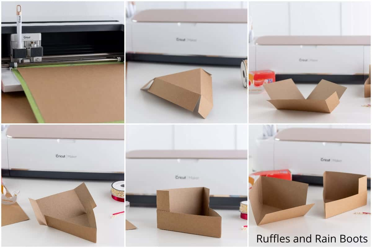 photo collage tutorial of how to make a pie slice box cricut craft