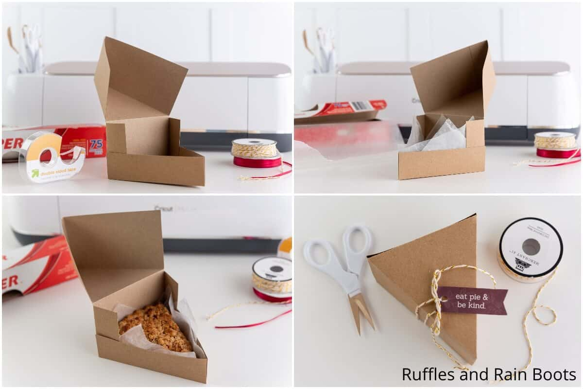 photo collage tutorial of how to make a box for a slice of pie using cricut craft