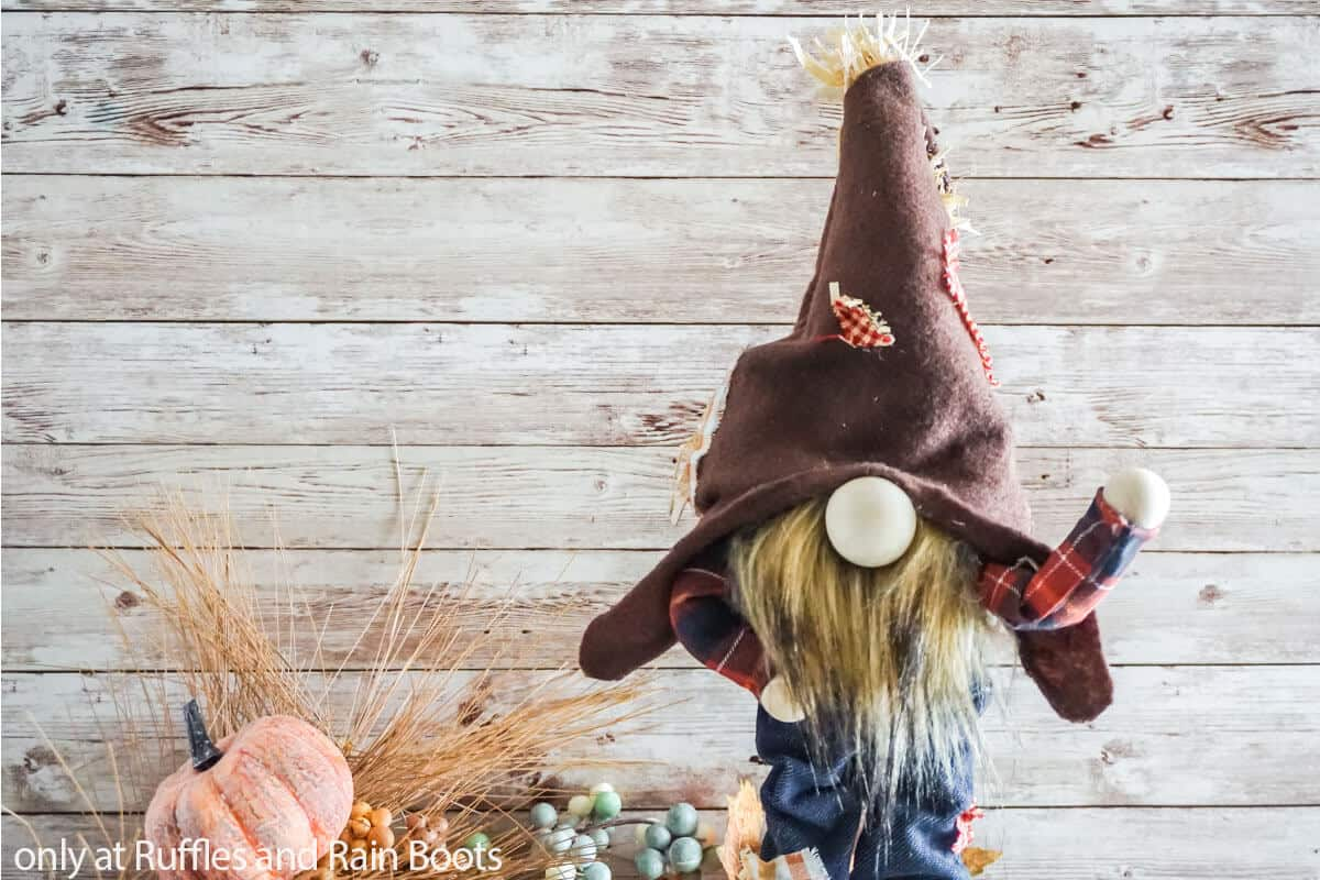 no-sew standing scarecrow gnome with arms that move