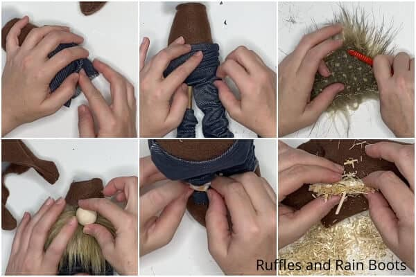 photo collage tutorial of how to make a no-sew scarecrow gnome pattern