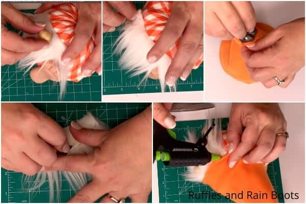 photo collage tutorial of how to make a pumpkin gnome with feet