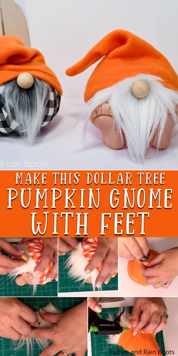 photo collage of fall gnome with pumpkin body with text which reads make this dollar tree pumpkin gnome with feet