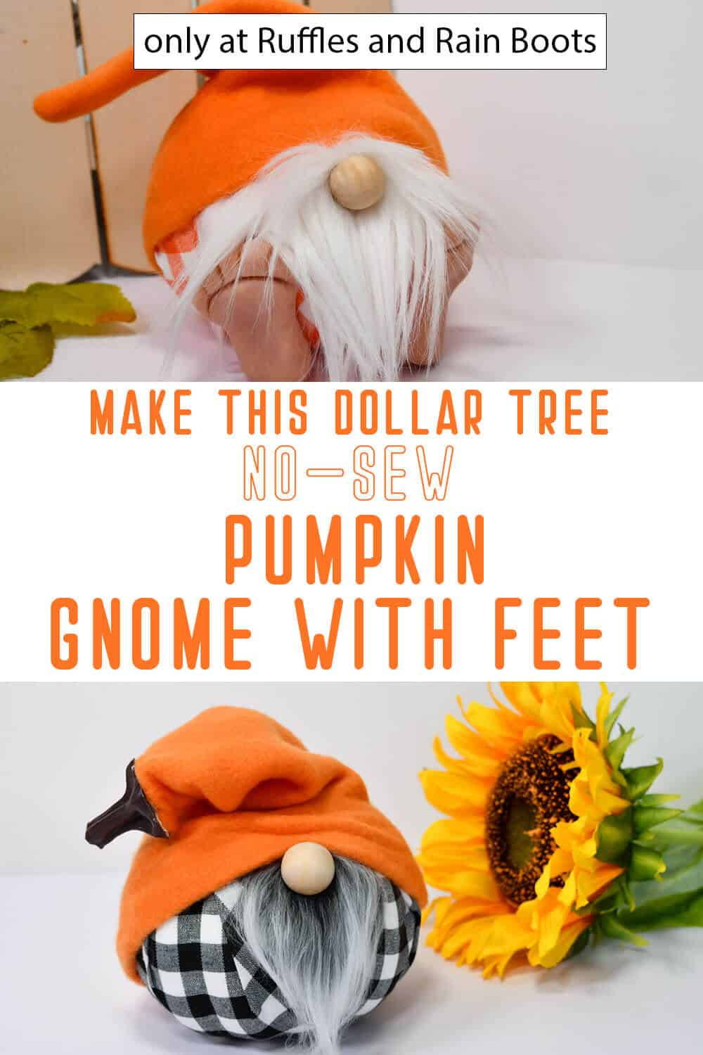 photo collage of dollar tree pumpkin gnome pattern with feet with text which reads make this dollar tree no-sew pumpkin gnome with feet