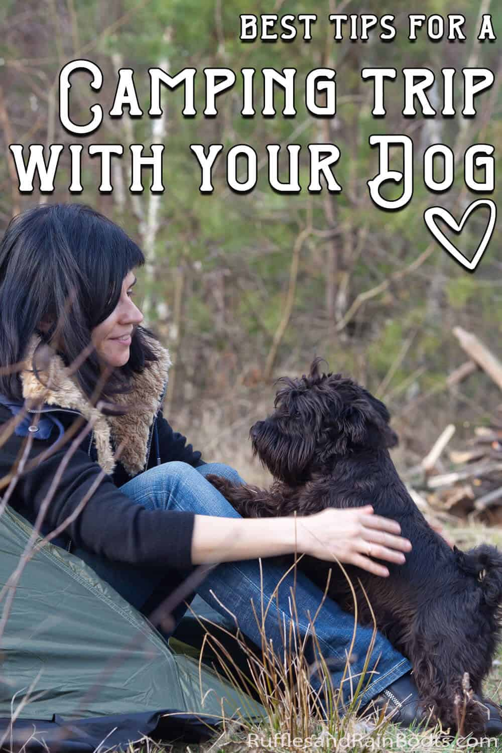 take your pet camping with text which reads best tips for a camping trip with your dog