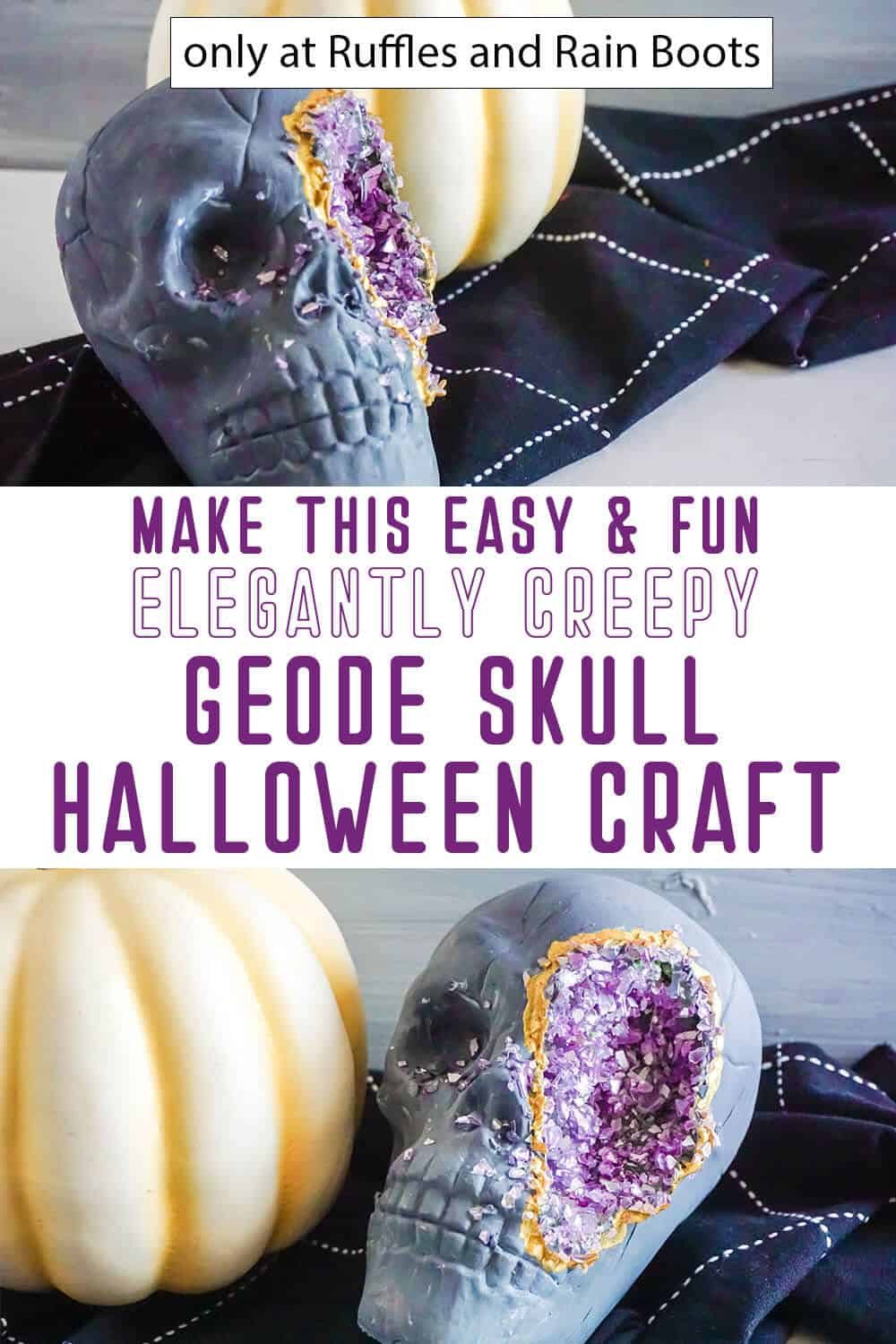 photo collage of skull geode halloween craft with text which reads make this easy and fun elegantly creepy geode skull halloween craft