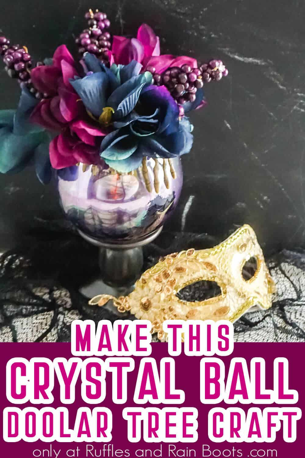 halloween crystal ball DIY craft with text which reads make this crystal ball dollar tree craft